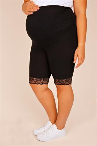 BUMP IT UP MATERNITY Black Cotton Elastane Legging Shorts With Comfort Panel