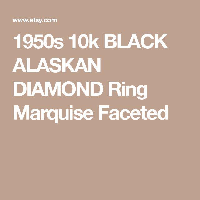 1950s 10k BLACK ALASKAN DIAMOND Ring Marquise Faceted