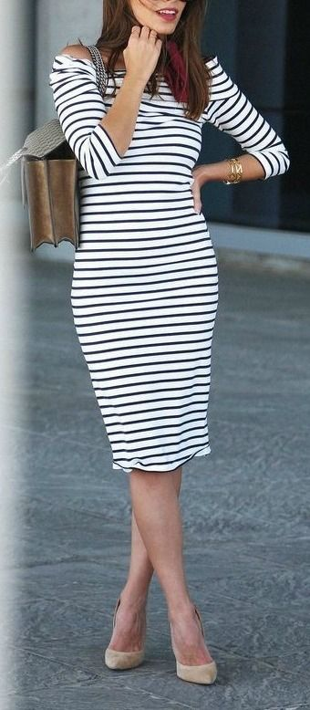 Striped midi dress.