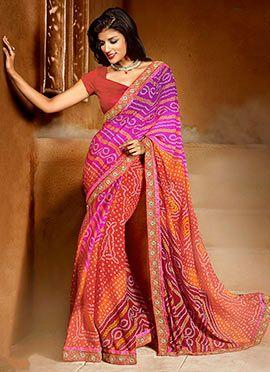 Pink N Red Bandhini Printed Saree