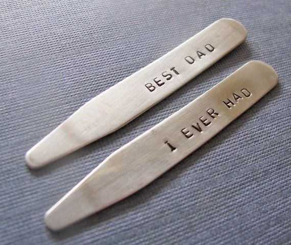 @cory brown check out these custom collar stays. Had some made for Paul for our wedding with initials and date