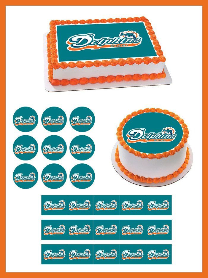 Miami Dolphins Edible Birthday Cake Topper OR Cupcake Topper, Decor - Edible Prints On Cake (Edible Cake &Cupcake Topper)