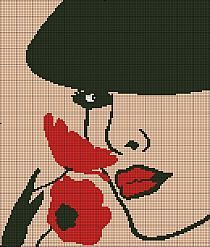 0 point de croix portrait femme et coquelicots - cross stitch girl and poppies