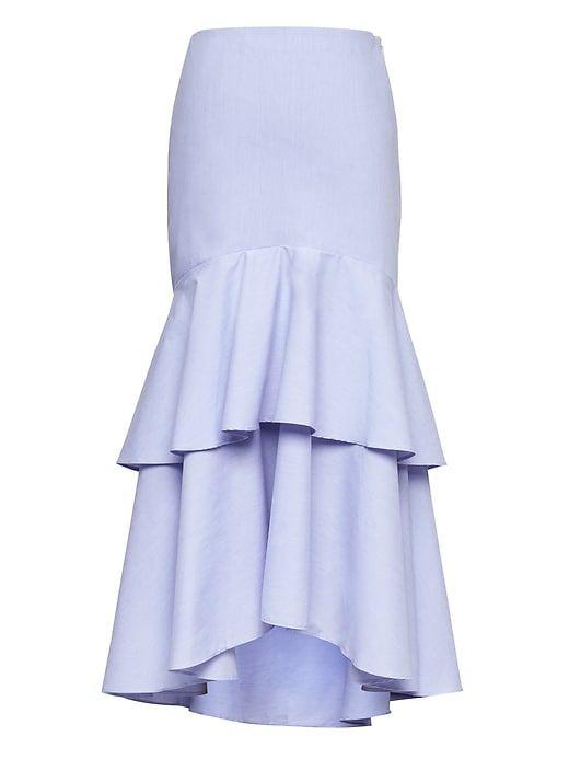 6671c19765 Banana Republic Womens Super-Stretch High-Low Maxi Skirt Light Blue ...