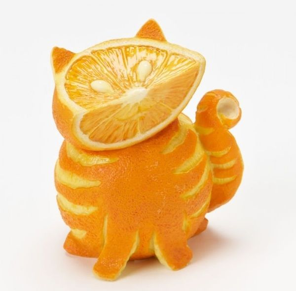 Cat made out of Fruit
