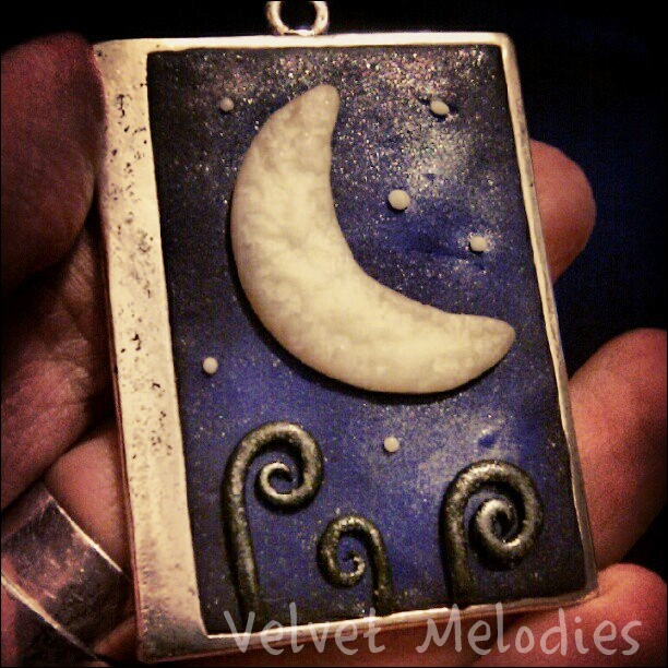 *Blue Night*  Plymer Clay and metallic base.  Moon and stars glow in the dark!