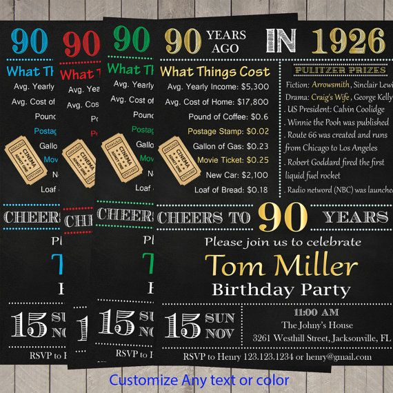 $10.00 90th birthday invitation- Surprise 90th birthday invite - chalkboard DIY printable ...