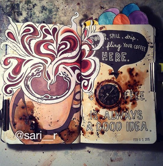 Wreck this journal page by Sari Raković #wreckthisjournal >> pour,spill,drip,spit,fling your coffee here <<