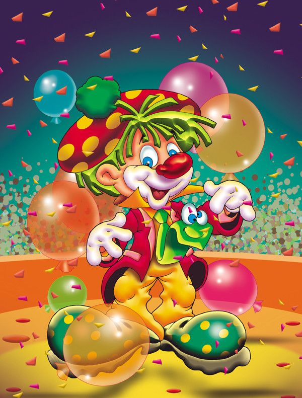 Happy Birthday Clown 2-Sided Garden Flag