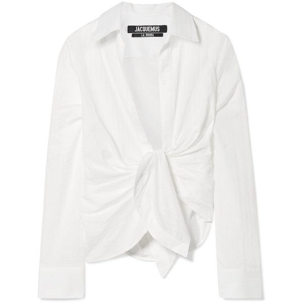 Jacquemus Bahia knotted cotton shirt ($525) ❤ liked on Polyvore featuring tops, blouses, white, white cotton shirt, stripe shirt, cotton shirts, striped shirts and shirt blouse