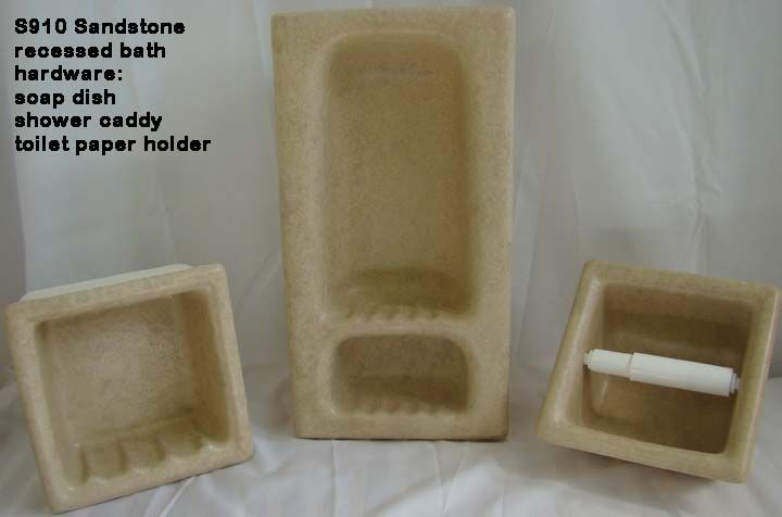 Sandstone recessed ceramic shower caddies and soap dishes - in stock at Eclectic-ware