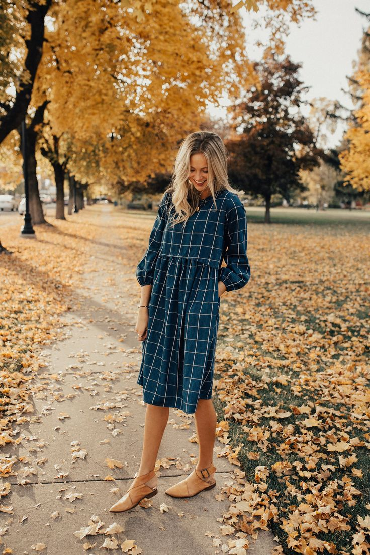 """Navy + Ivory Plaid Midi Dress Gathered Waist Seam 3/4 Sleeve + Elastic Cuff Hip Pockets Keyhole Back Loose Fit View Size Chart Model is 5'9"""" + Wearing a Small"""
