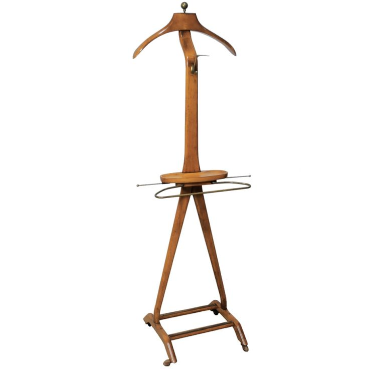 Fratelli Reguitti Italian Men's Wood & Brass Clothing Valet by Ico Parisi | From a unique collection of antique and modern coat stands at http://www.1stdibs.com/furniture/more-furniture-collectibles/coat-stands/