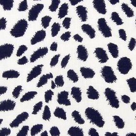 Leopard Path - Navy Blazer - White fabric made out of linen and cotton decorated with simple leopard print in colour navy blue