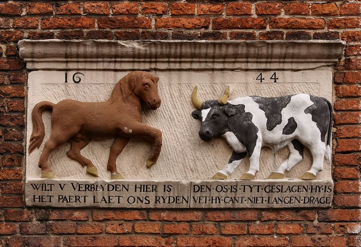 """Gevelsteen """"Paard en Os"""", Leiden. Photo by Pancras van der Vlist."""