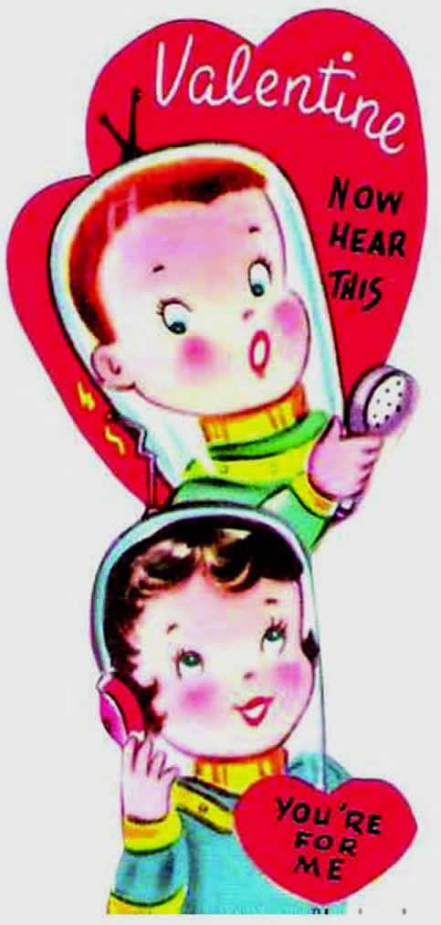 Vintage Valentine Card Heart Retro Valentines St