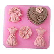 matrimonio amore pieno abito di cottura della torta del fondente della muffa della caramella choclate, l8.3cm * w7.7cm * h1.8cm