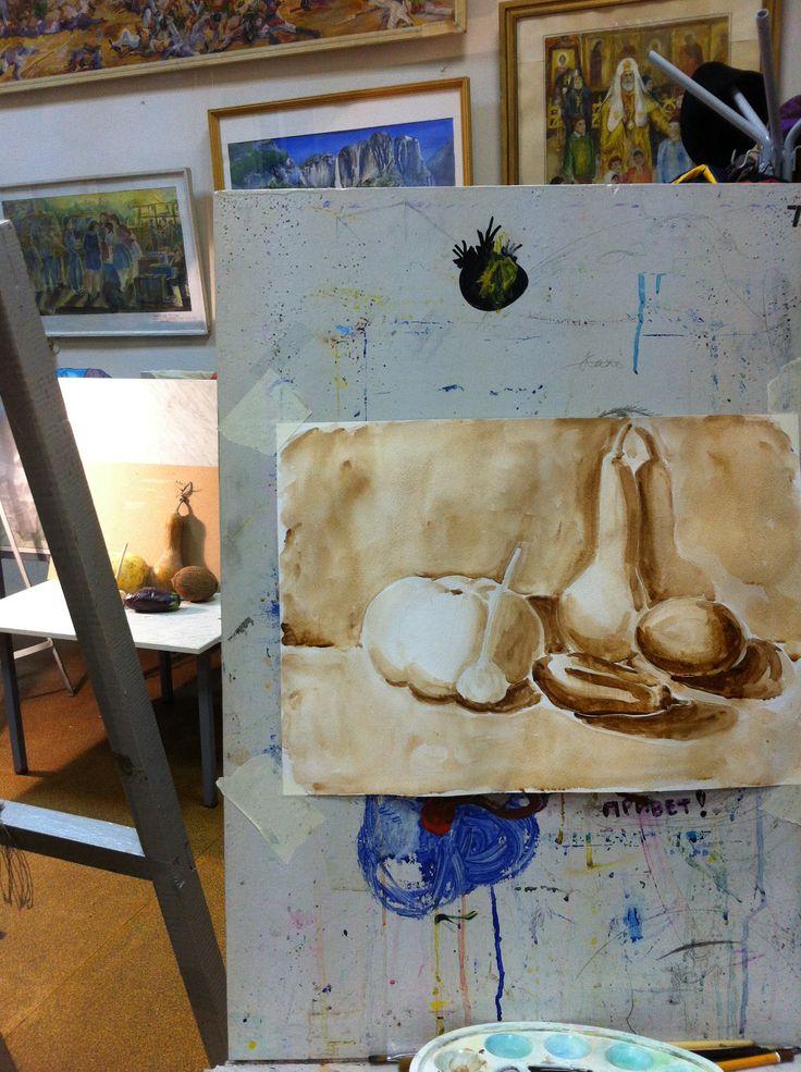 Учебный натюрморт, акварель, гризайль. А3 watercolor