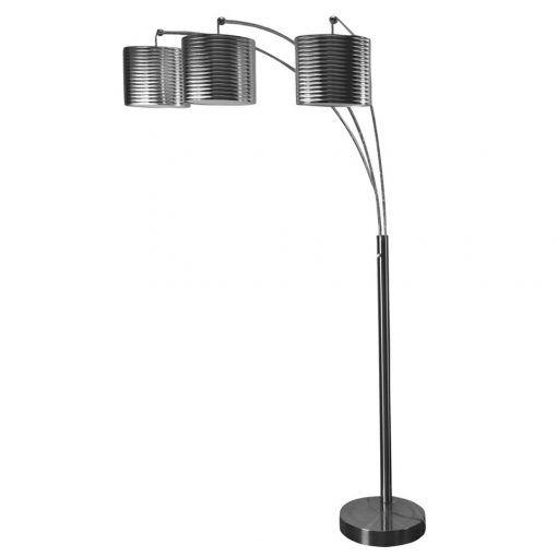 Brush steel three arm arch floor lamp