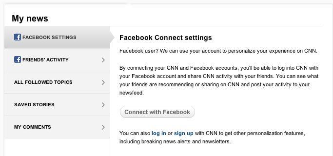 CNN iReport Facebook Settings