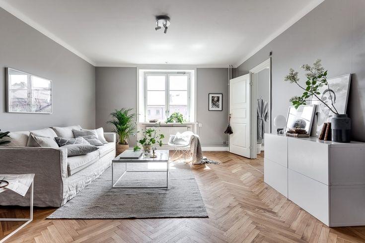 Sal n con paredes en gris mueble recibidor colores for Sala gris con turquesa