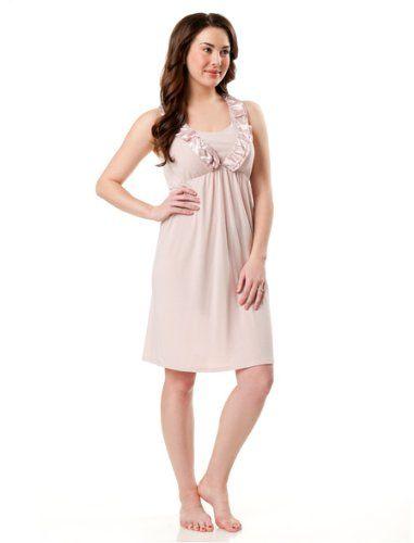 Motherhood Maternity: Sleeveless V-neck Ruffle Front Nursing Nightgown