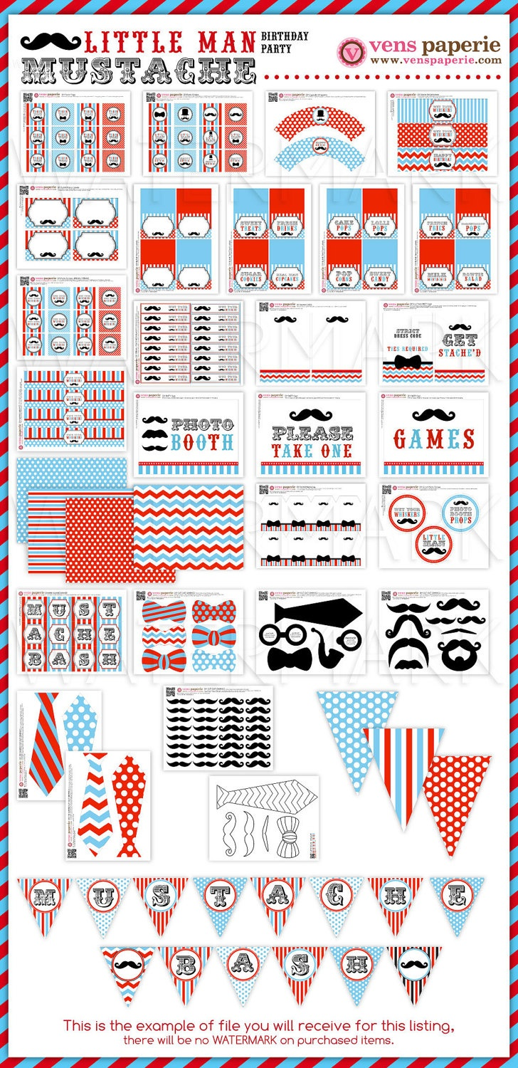 Little Man Mustache Birthday Party Package by venspaperie on Etsy
