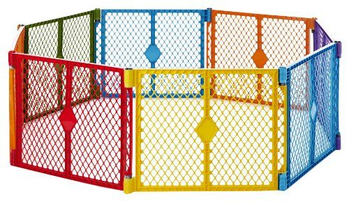 Designed for both indoor and outdoor use, the North States Superyard Colorplay 8 Panel is an excellent solution for creating a safe enclosed area for kids and pets anywhere from the backyard to the playroom.  Made of durable, weather-resistant plastic, this portable play yard is larger than the Superyard Classic or Superyard Colorplay as it provides 34.4 square feet (7' feet corner to corner compared to 5 ½' corner to corner) of protected play space, and it can be reconfigured into…