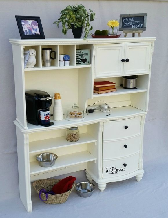 How to make a kitchen hutch buffet out of an old desk and ...