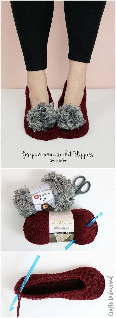 Fur Pom Pom Crochet Slippers Pattern - free fast and easy crochet pattern