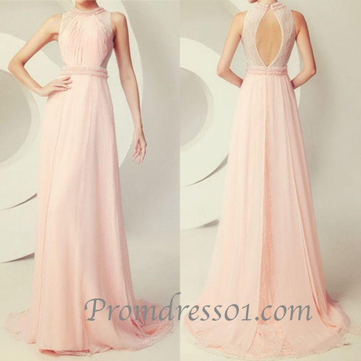 2015 elegant round neck open back floor length modest chiffon prom dress for teens, ball gown, evening dress,graduation dress #promdress