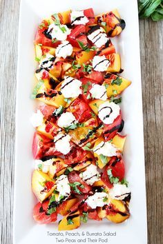 Tomato, Peach, Burrata Salad - just five ingredients! This is also good with watermelon instead of tomatoes