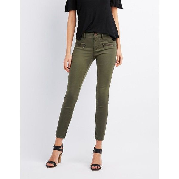 Refuge Zipper-Trim Skinny Jeans ($25) ❤ liked on Polyvore featuring jeans,  · Olive Green ... - Best 25+ Olive Skinny Jeans Ideas On Pinterest Army Green Pants