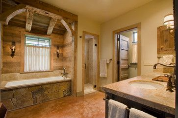 Rustic Country bathroom   rustic bathroom design by austin architect chas architects