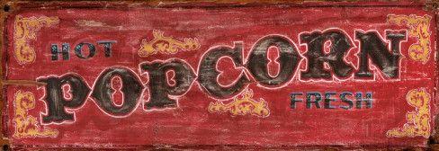 Hot Fresh Popcorn Vintage Wood Sign Wood Sign at AllPosters.com