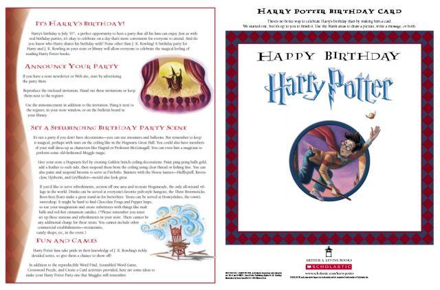 Anniversaire harry potter - livrets de jeux et activités pour les fêtes à thème