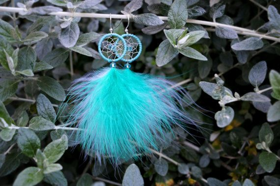 Fluffy Aqua Dream Catcher Earrings by nZuriArtDesigns on Etsy