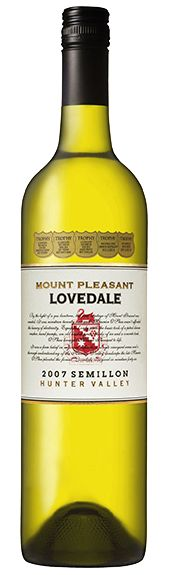 2007 MOUNT PLEASANT LOVEDALE SEMILLON HUNTER VALLEY NSW The late Maurice O'Shea planted the Lovedale vineyard in 1946 with incredible foresight, recognising that the unique structure of the land would deliver the tightness and acidity for world-class Semillon. This wine provides exceptional drinking now or can be carefully cellared for up to fifteen years from vintage. (Taken from ARIA's wine list to complement the seasonally influenced cuisine of Matt Moran - 28 April 2015).