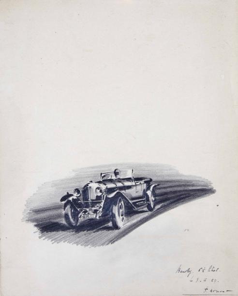 Paul BOUVOT (1922-2000) Bentley 6,5L Dessin au crayon sur papier Signé et daté 9.4.57 en bas à droite Papier jauni, quelques taches et déchirures en bas Dim: 31 X 25 cm environ Provenance: Collection … - Aguttes - 18/03/2017