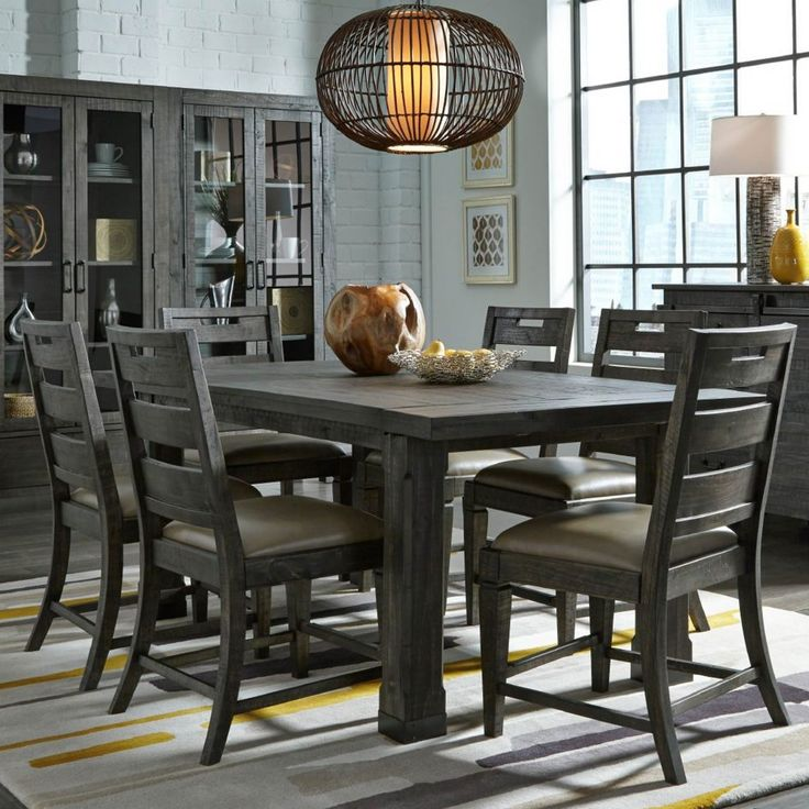 Dining Room Cute Sets Have Grey Wood Table Wooden Legs 6 Chairs Front Cupboard Above Laminate Floor Around White Brick