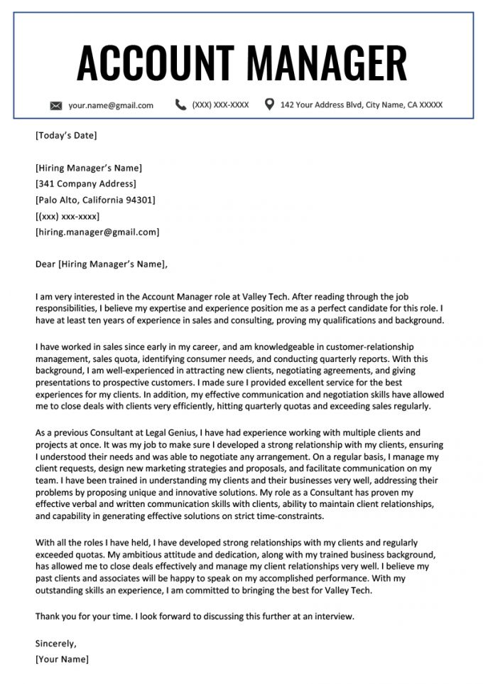 account manager cover letter example resume genius sales
