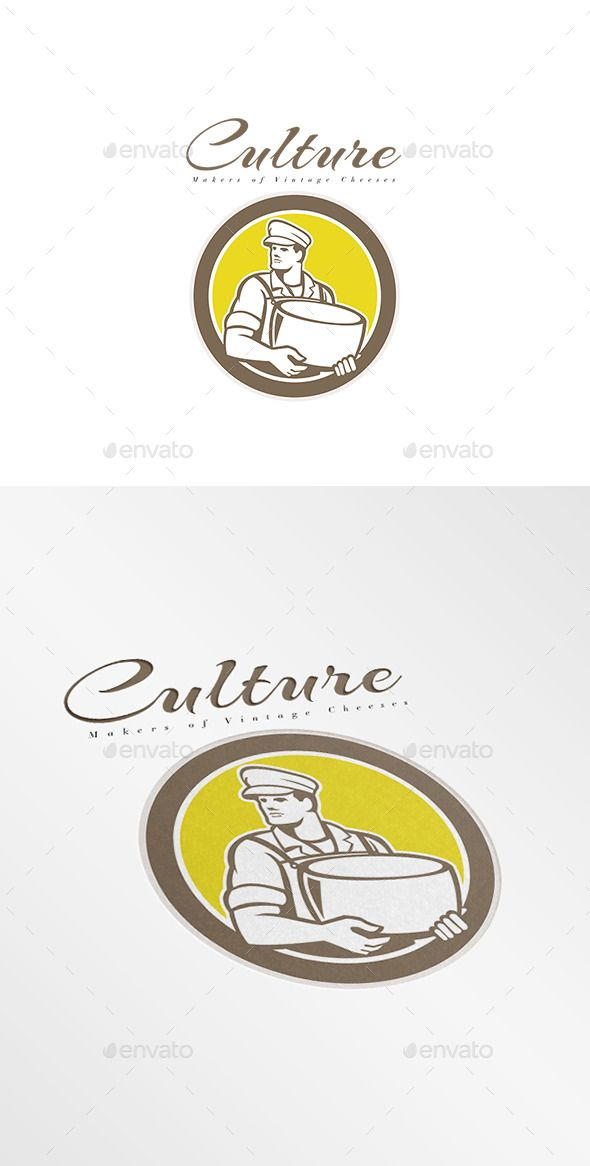 Culture Makers of Vintage Cheese Logo. Logo showing illustration of a cheesemaker standing holding parmesan cheese block facing to