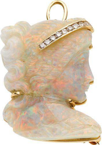 Opal Cameo, Diamond, Gold Pendant-Brooch, Underwood's.