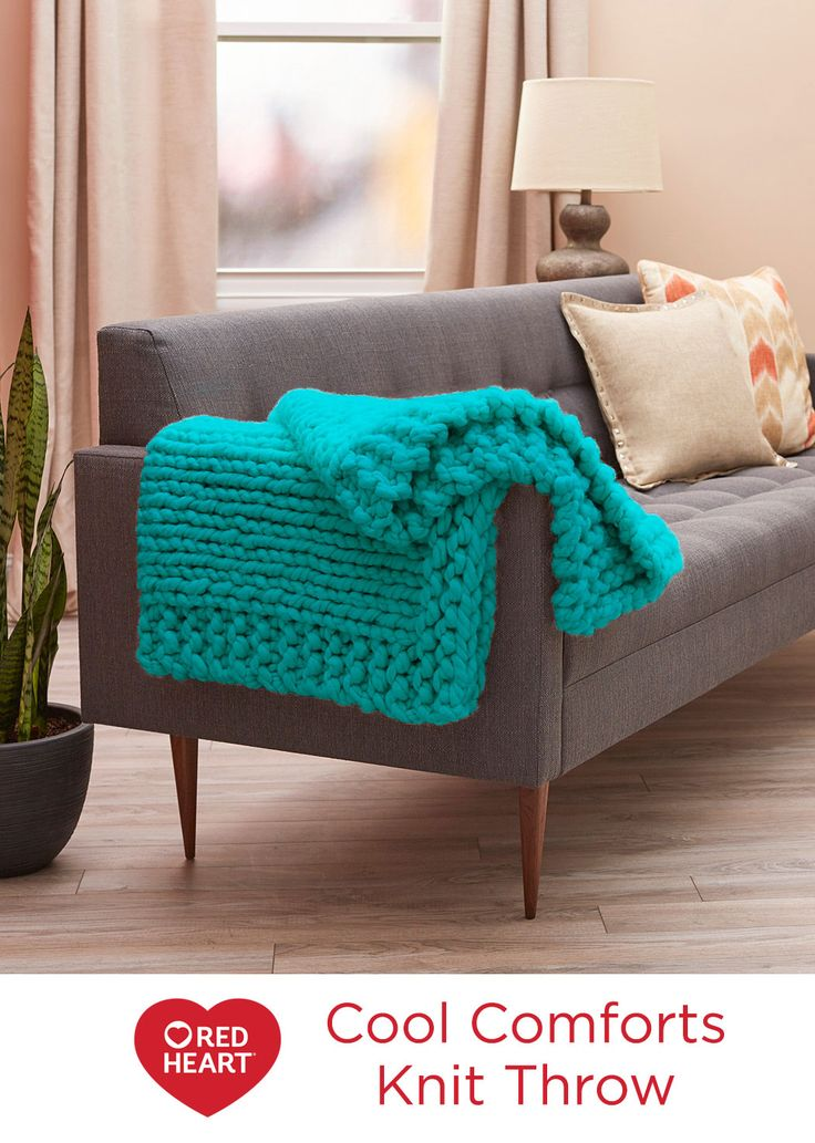 Cool Comforts Knit Throw Free Knitting Pattern in Red Heart Yarns -- PATTERN NUMBER  LW5549DESIGNED BY  Heather Lodinksy PROJECT TYPE  Throw / Afghan CRAFT  Knit SKILL LEVEL  BEGINNER Knitting DOWNLOAD  FREE PATTERN    Add to  Wishlist BUY MATERIALS PATTERN DETAILSGAUGE Knit this cushy throw on big knitting needles and update your favorite relaxing spot in modern style. This acrylic yarn with just a bit of wool means you can get the mega-thick look at a budget-friendly price.
