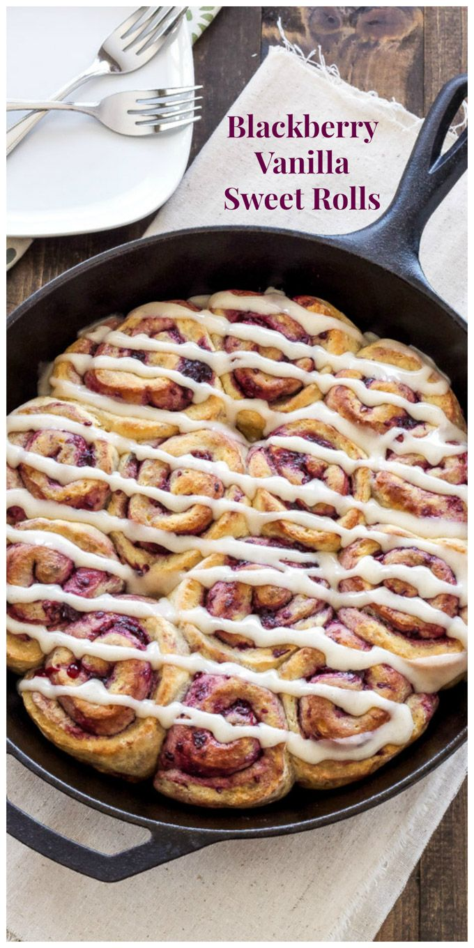 Blackberry Vanilla Sweet Rolls   No yeast sweet rolls with blackberry filling and cream cheese glaze are the perfect breakfast treat!