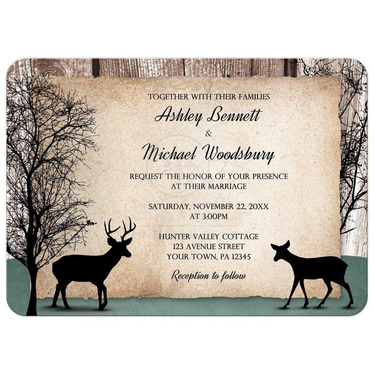 Wedding Invitations - Deer Rustic Woodsy