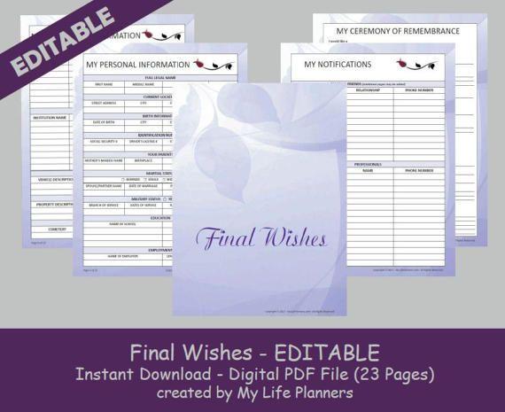 Final Wishes Planner Funeral Planner  Burial Arrangements