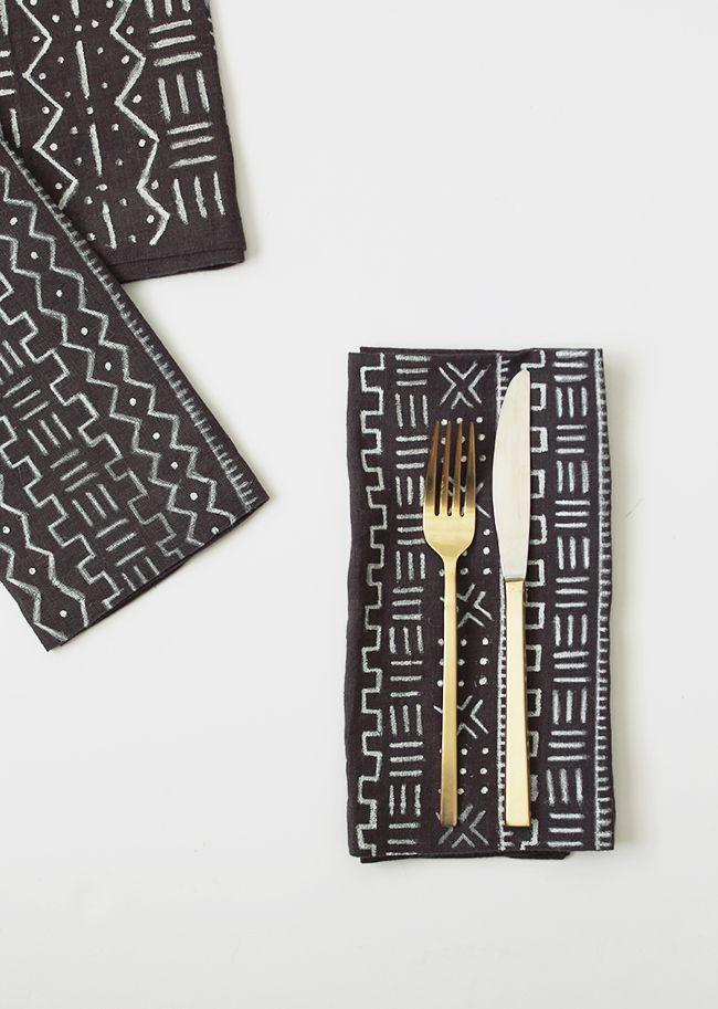 DIY mudcloth napkins