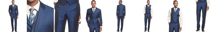 Sean John Big and Tall Blue Solid Vested Classic-Fit Suit
