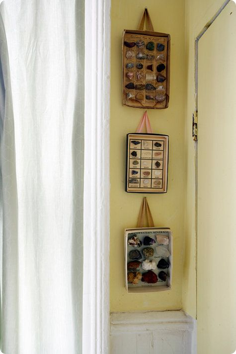 CHIC + SAVVY: Box tops and ribbons make unique collector cases. #diy #decor